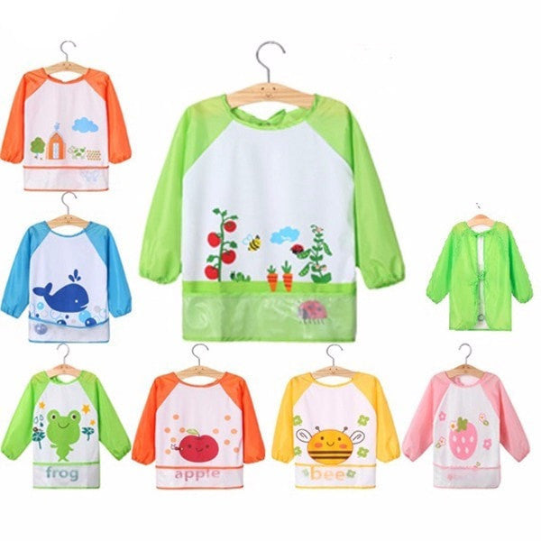 Waterproof Long Sleeve Children Lunch Bibs With Front Pocket