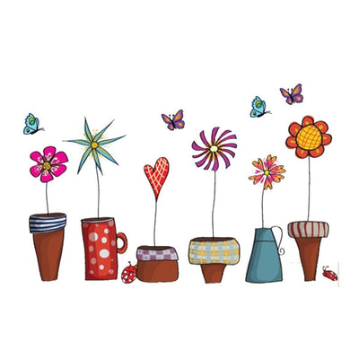 Flower Pots Window Wall Decor Stickers
