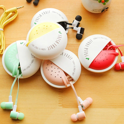 Cute Fruit Candy Colorful Earphones With Case