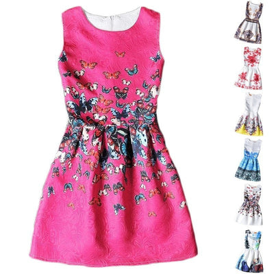 Floral Print Sleeveless Kids Dresses For Girls