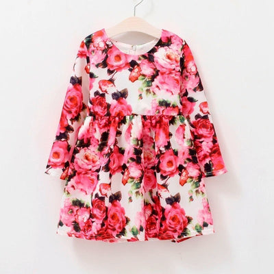 Girl Long Sleeve Waist Dress