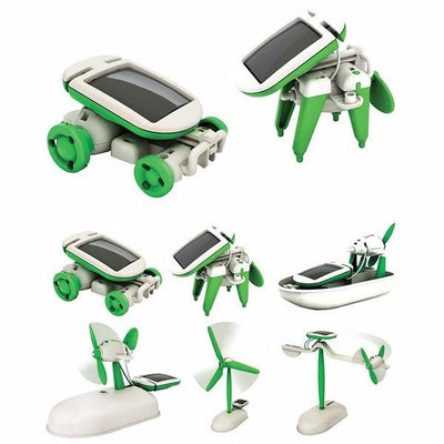 Solar Power 6 in 1 Electronic Toys Robot Car Boat Dog Fan Plane Puppy
