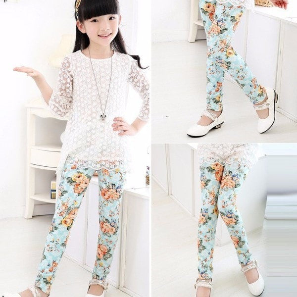 Flowers Leggings For Girls