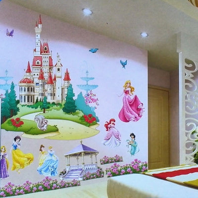 Large Colorful Princess Castle Wall Sticker