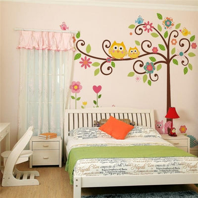Owls On Colorful Tree Wall Sticker