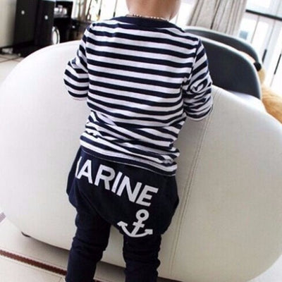 Navy Long Sleeve Pullover Striped Sports Suit