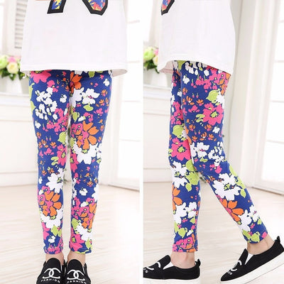 Girls Flowers Skinny Leggings