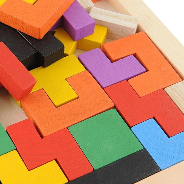 Wooden Tetris Tangram Brain Teaser Puzzle Toy