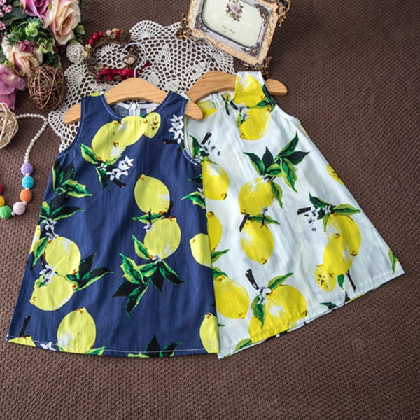 Girl Lemon Print Sundress