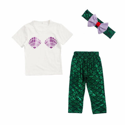 Baby Girl Mermaid Legging Outfit - Dealeaz