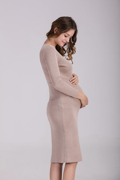 Cross V Neck Knitted Maternity Dress