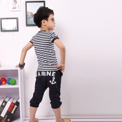 Short Sleeve Navy Striped Cotton Boy Clothing