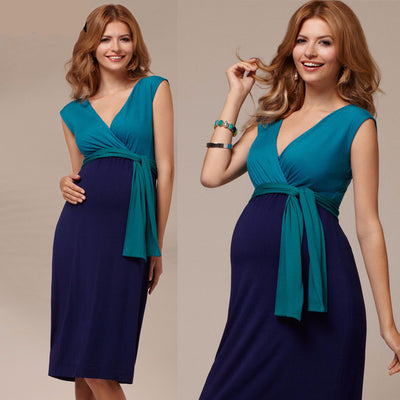 Blue Double Tone Pregnant Evening Dress