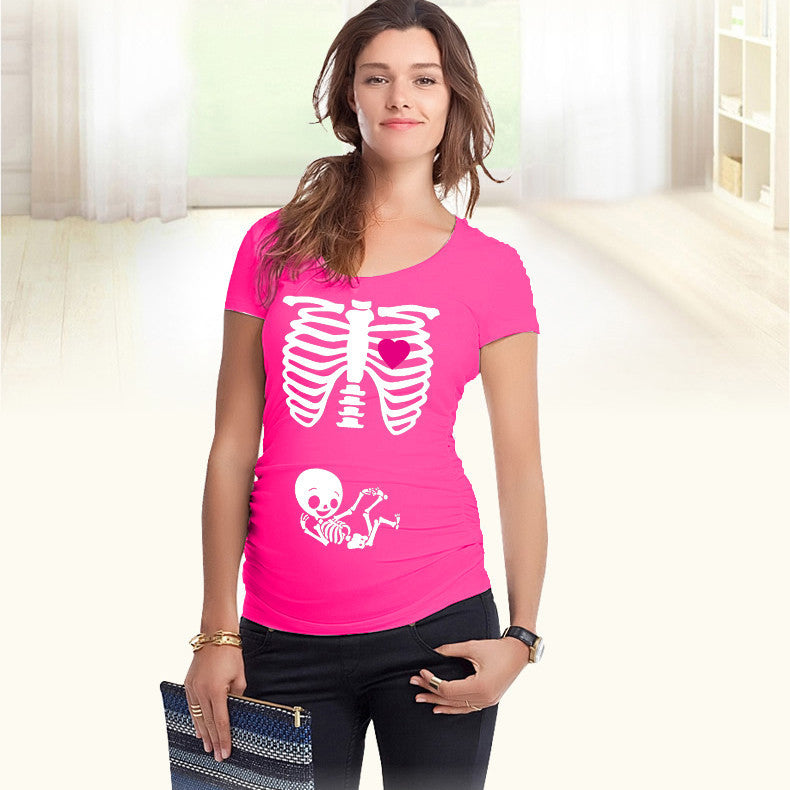 a78251b2 Pregnant Mom Funny Skeleton T Shirt - Momeaz