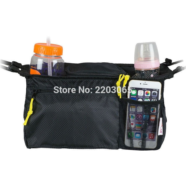 Stroller Bottle Organizer Bag With Front Pocket for Cell Phone