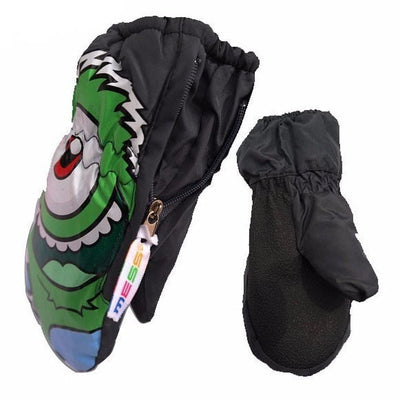 Children Ski Snowboard Waterproof Monster Gloves
