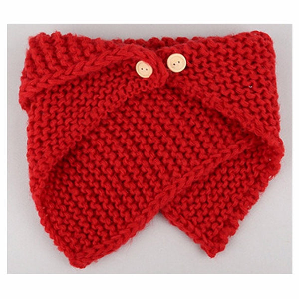 Wrap Bevel Knitted Scarf With Wood Buttons