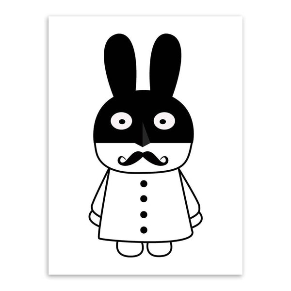 Modern Minimalist Nordic Black White Cartoon Animals Art Print Poster