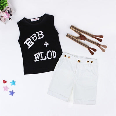 Black Sleeveless T-Shirt + Short Pants + Straps