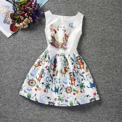 Sleeveless Printed Dresses Girls Clothes