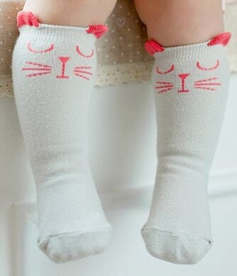 White And Gray Cat Baby Socks