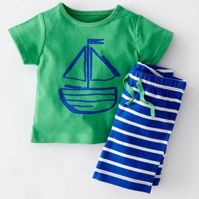 Tshirt + Striped Shorts Casual Clothing Set