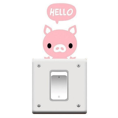 Cartoon Animal Switch Wall Sticker