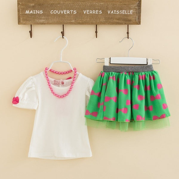 Baby Girls Clothing Set Necklace + T-Shirt + Skirt