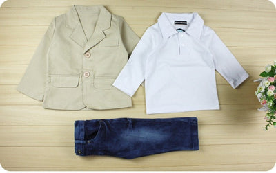 Shirt + Jackets + Jeans Baby Boys Designer Clothes For Kids
