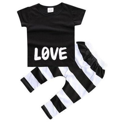 Baby Clothing Set T-Shirt+Pants Black/White
