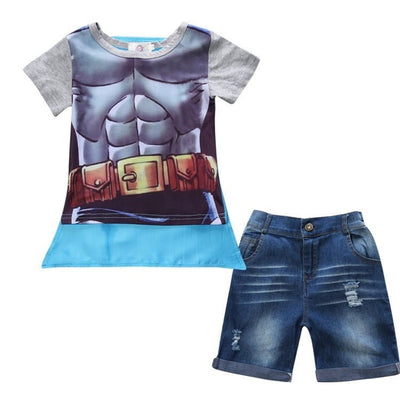 Kids Superheroes Loose-Fitting Cotton Shirt + Shorts