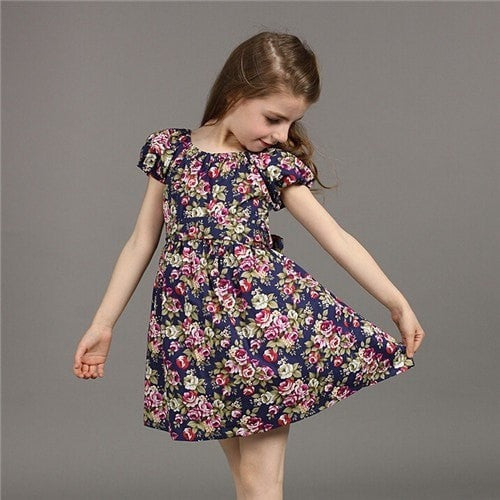 Girl European Style Floral Cotton Dress