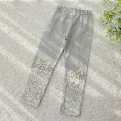 Solid Lace Bow Legging Girls Pants