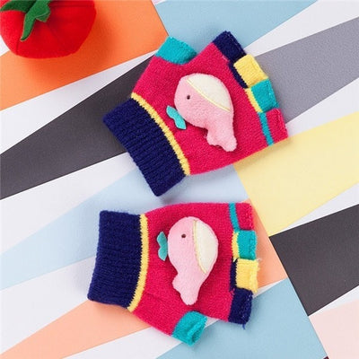 Cute Whale Kids Winter Fingerless Gloves