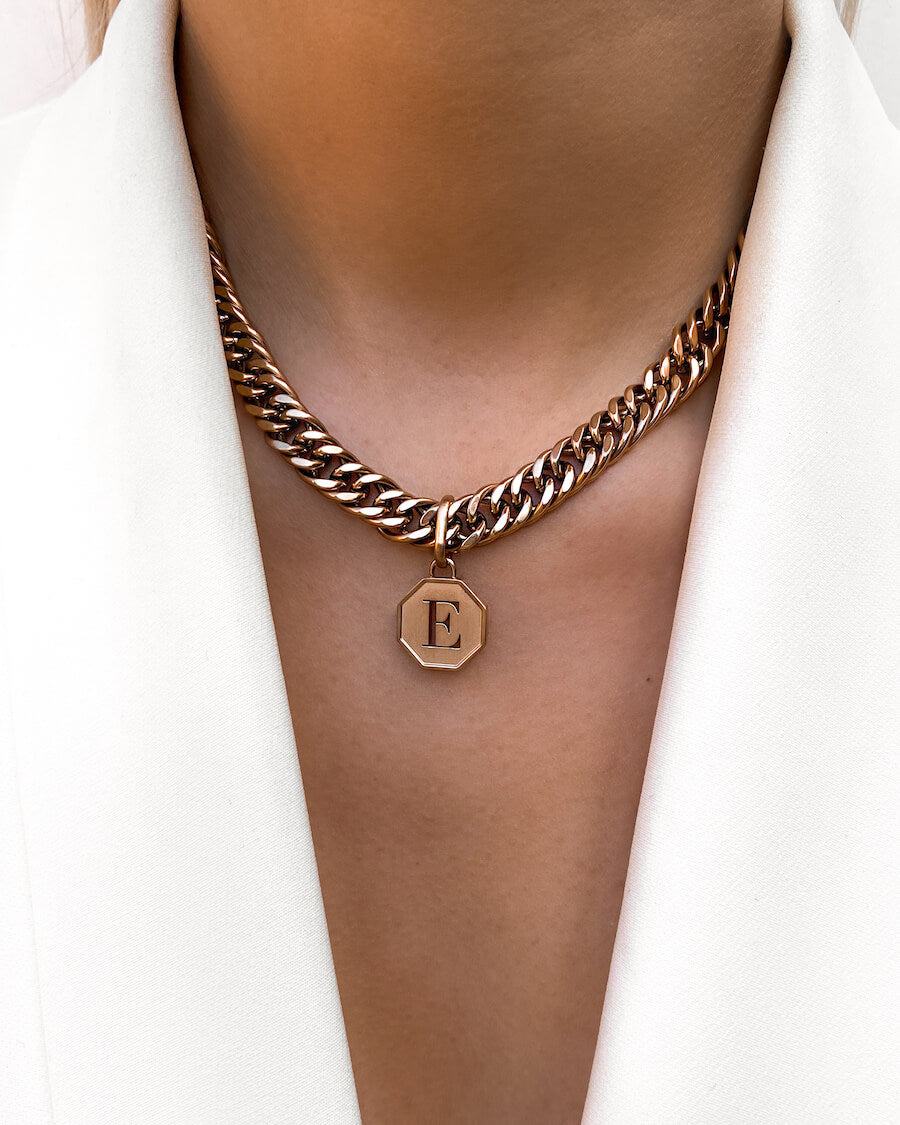 Octagon Letter Curb Chain Necklace (Rose Gold)