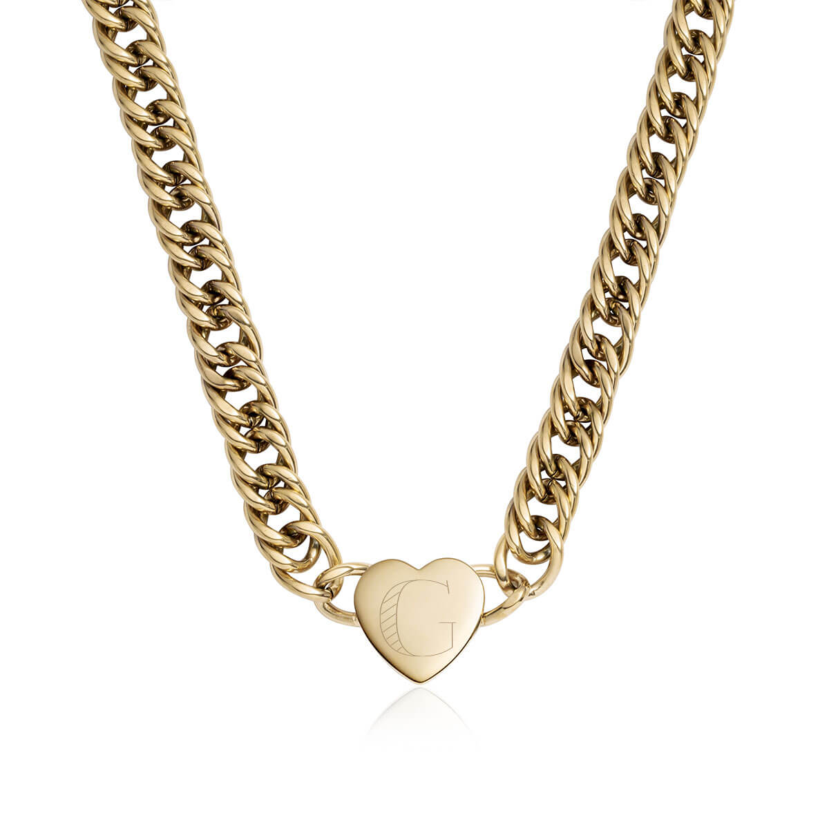 Heart Curb Chain Personalise Necklace (Champagne)