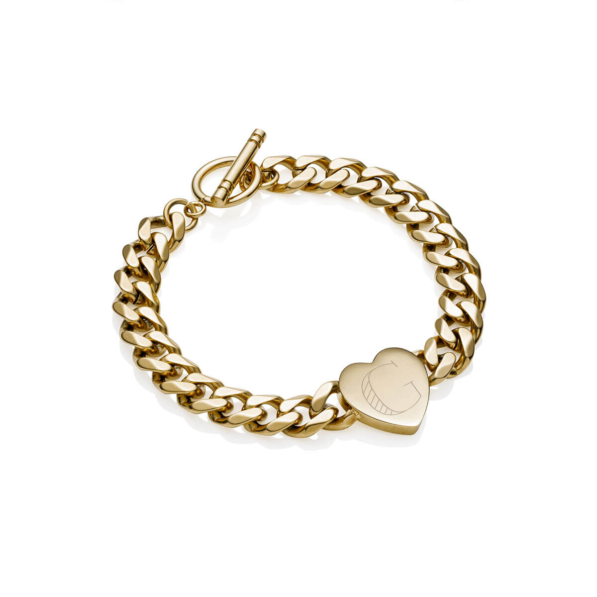 Heart Curb Chain Personalise Bracelet (Champagne)