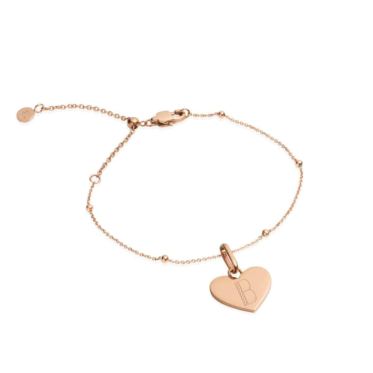 Heart Sphere Chain Bracelet (Rose Gold)