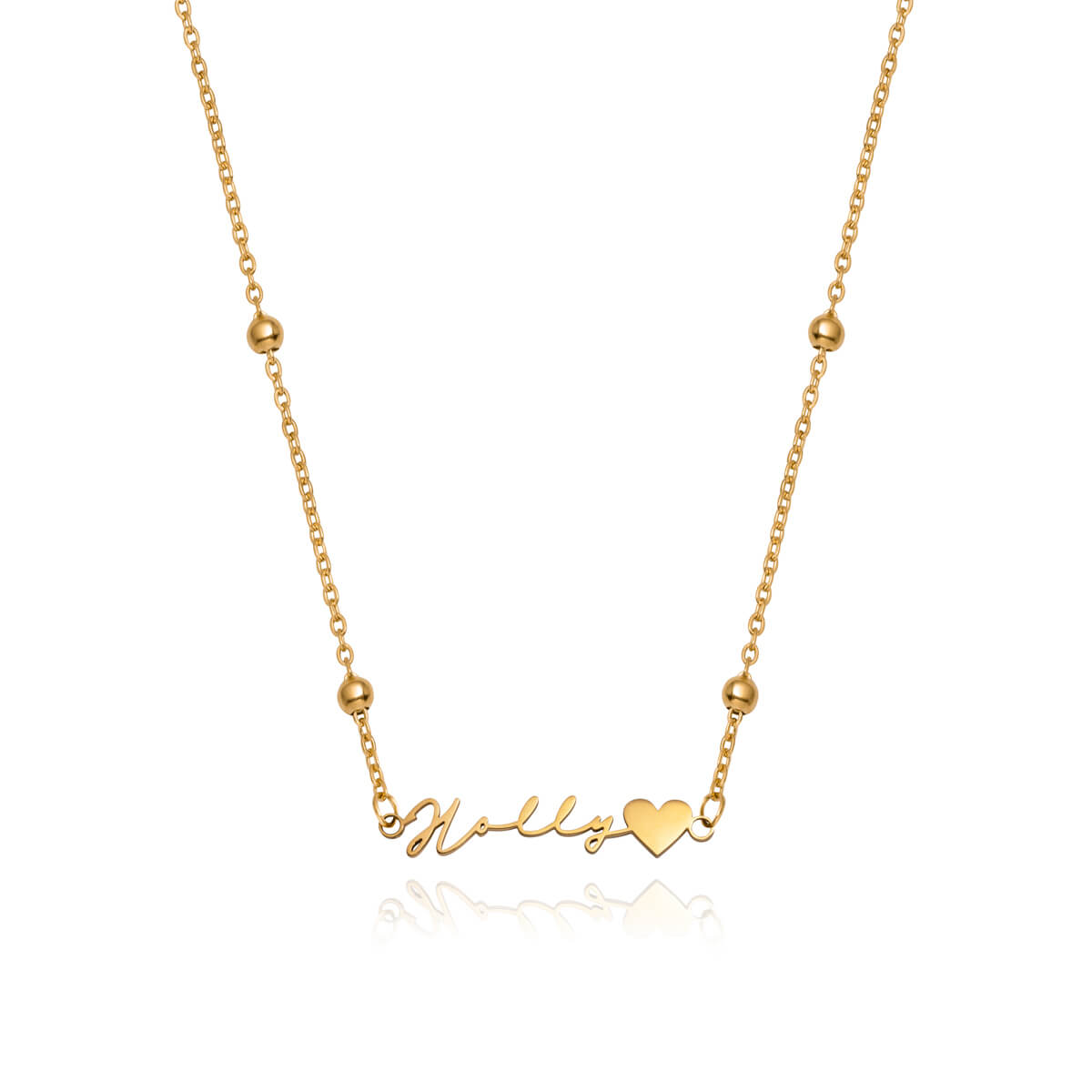 Love Heart Signature Name Necklace (Gold)