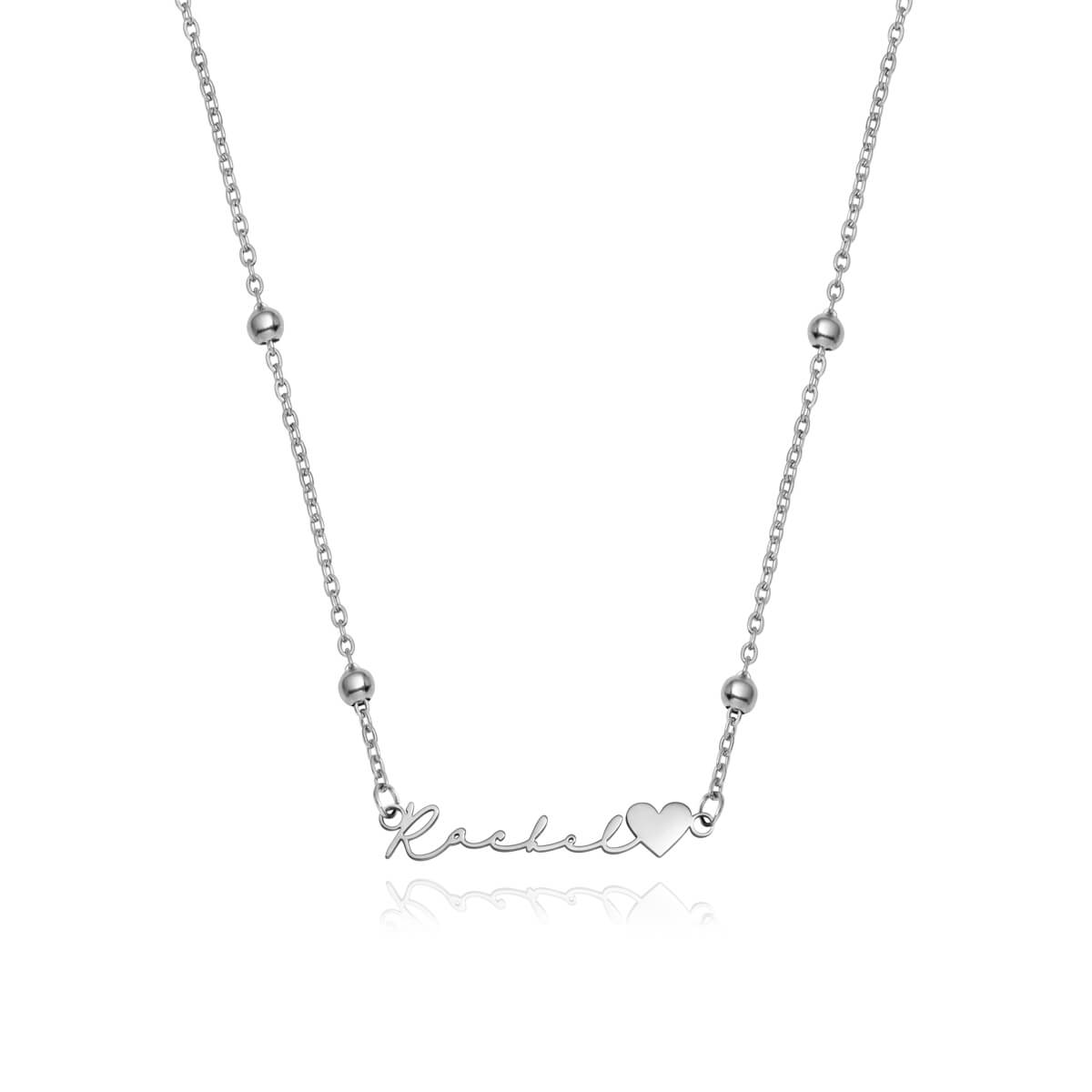 Love Heart Signature Name Necklace (Silver)