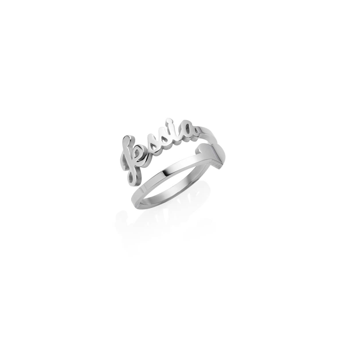 Love Heart Name Ring (Silver)