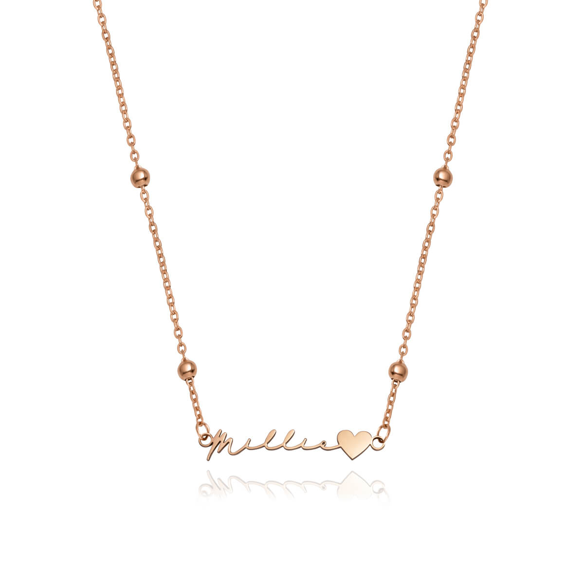 Love Heart Signature Name Necklace (Rose Gold)