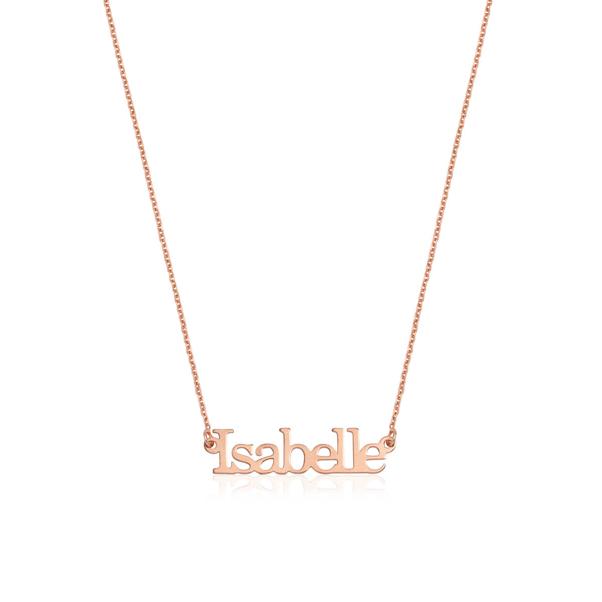 Sterling Silver Editorial Name Necklace (Rose Gold)