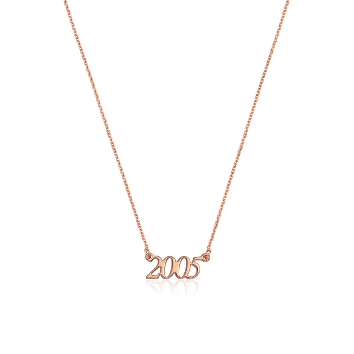 Sterling Silver Script Date Necklace (Rose Gold)