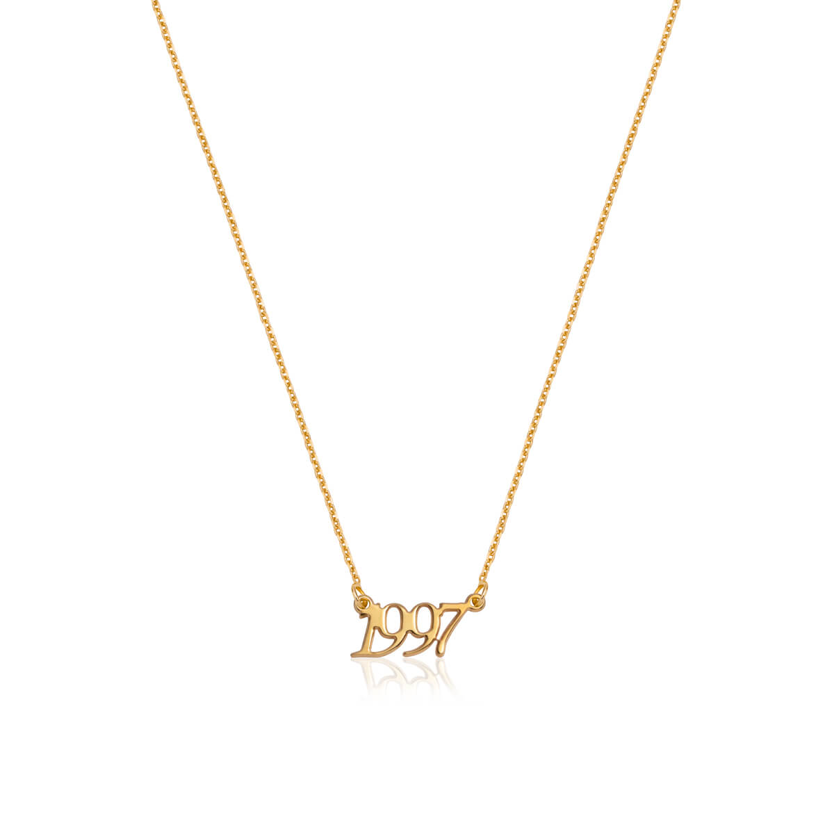 Sterling Silver Script Date Necklace (Gold)