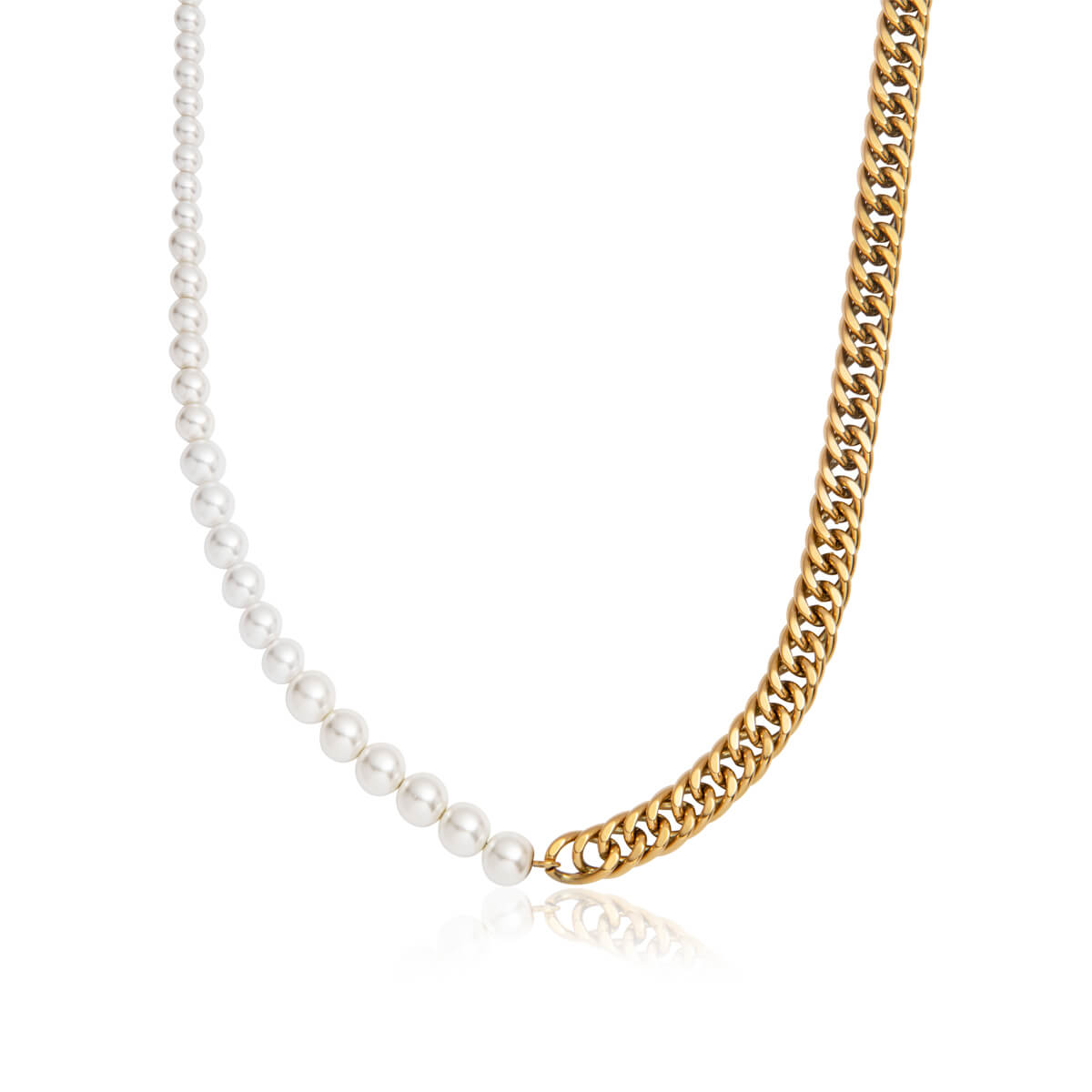Pearl Curb Chain Necklace (Gold)