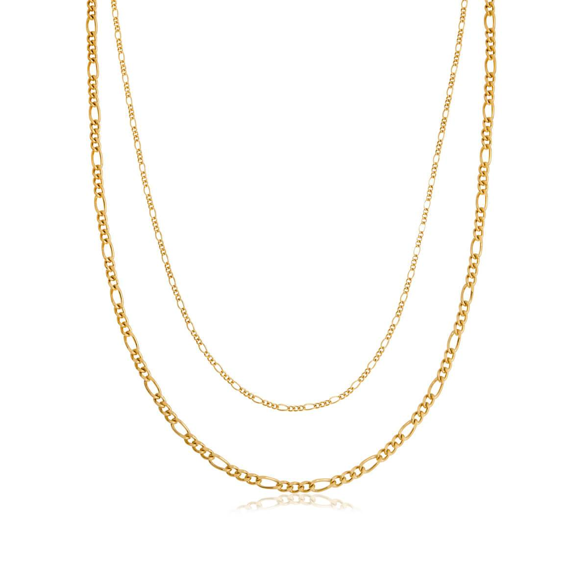 Selected Double Figaro Chain Necklace (Gold)