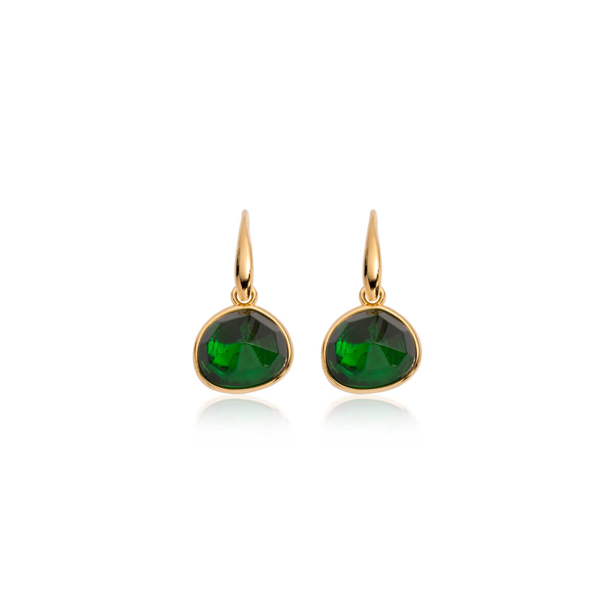 Emerald Droplet Earrings (Gold)