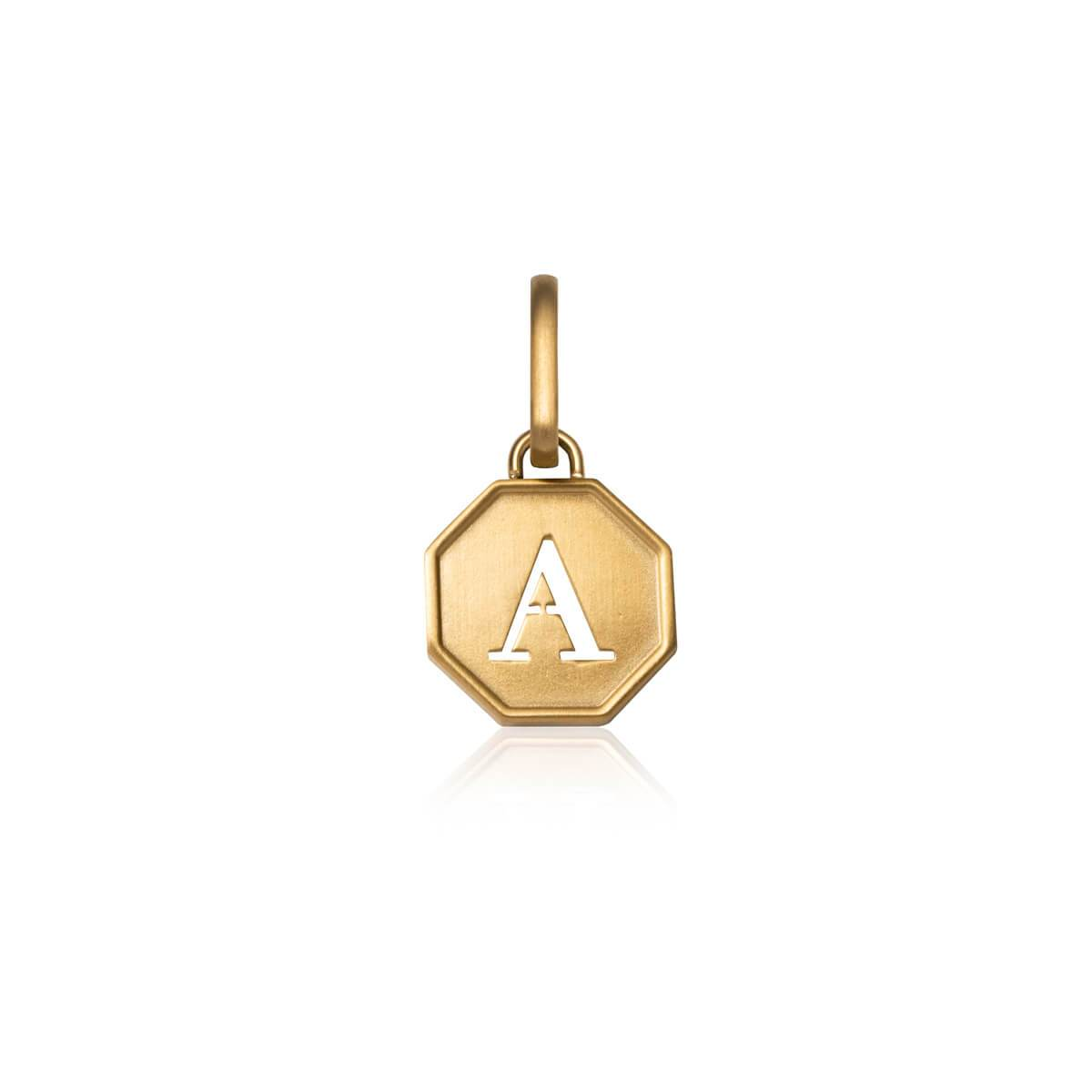 Selected Octagon Coin Letter Pendant (Gold).