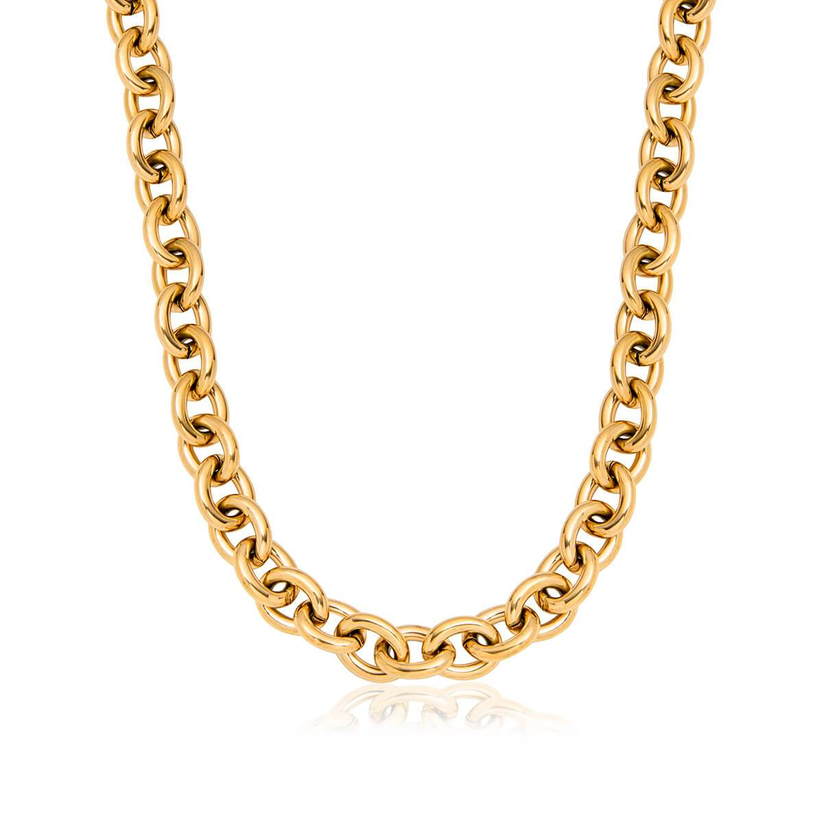 Oval Link Chain Necklace (Gold)